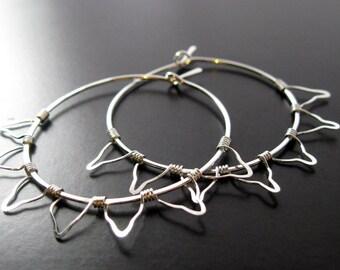Sterling Boho Sunburst Hoop Earrings, Silver Sun Hoops, Sunburst, Bohemian Hoops, Big Boho Hoop Earrings