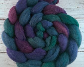 Handpainted Dark BFL Wool Roving - 4 oz. CARNIVAL - Spinning Fiber