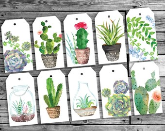 Botanical cacti gift tags Birthday gift tags  Printable Botanical cards succulents  green Nature woodland Printable gift tags watercolor
