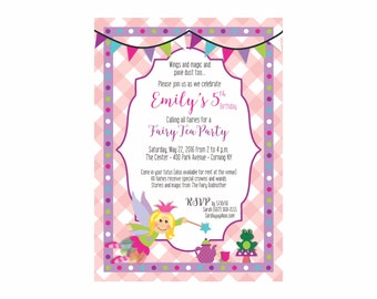 Fairy Party Invitation 5x7 Fairy Tea Party Little Girl Party