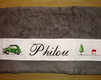 Embroidered band sewing on towel / Dodoche 2CV / terminal / customizable / Adding name / ON ORDER / Color of your choice