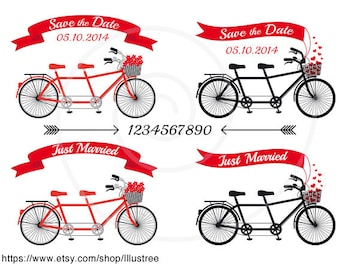 Wedding invitation clip art, tandem bicycle, banners, ribbons, save the date, just married, commercial use, PNG, EPS, SVG, instant download