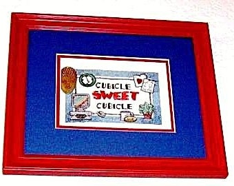 Hand Embroidered Cross-Stitch Cubicle SWEET Cubicle Office Humor Wall Art by Rokstudy, Ju's Creations