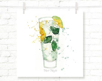 Mint - Mojito - Cocktail - Drink - Watercolor - Art Print - Wall Art