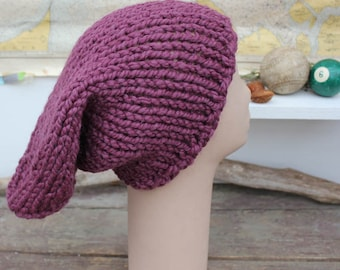 Chunky Slouchy Beanie Hat Slouchy Knit Hat Chunky Hand Knit Slouchy Hat Plum Slouchy Hat One Size Fits All Slouchy The Pelly Big Beanie Hat