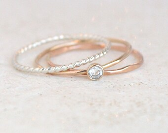 birthstone stacking ring set. minimalist. mixed metals. gemstone ring. sterling silver. gold filled, rose gold. mothers ring. stacking ring.