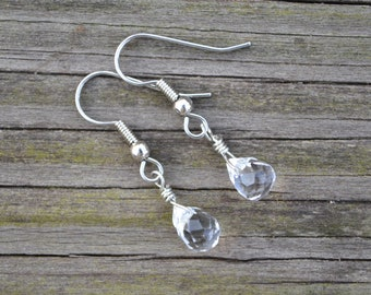 Small Clear Faceted Celestial Crystal Briolettes . Earrings . Silver