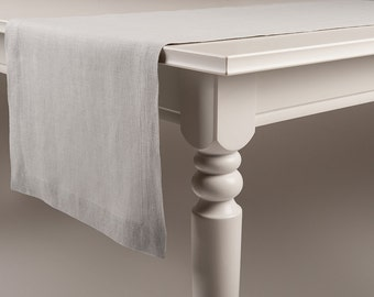 Linen table runner Classic Dove grey color very soft linen runners with mitered corners