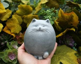 Fat Cat Statue - Abstract Concrete Kitty - Zen Cat - Outdoor Garden Decor