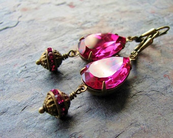 Fuchsia Swarovski Crystal and Antique Brass Drop Earrings