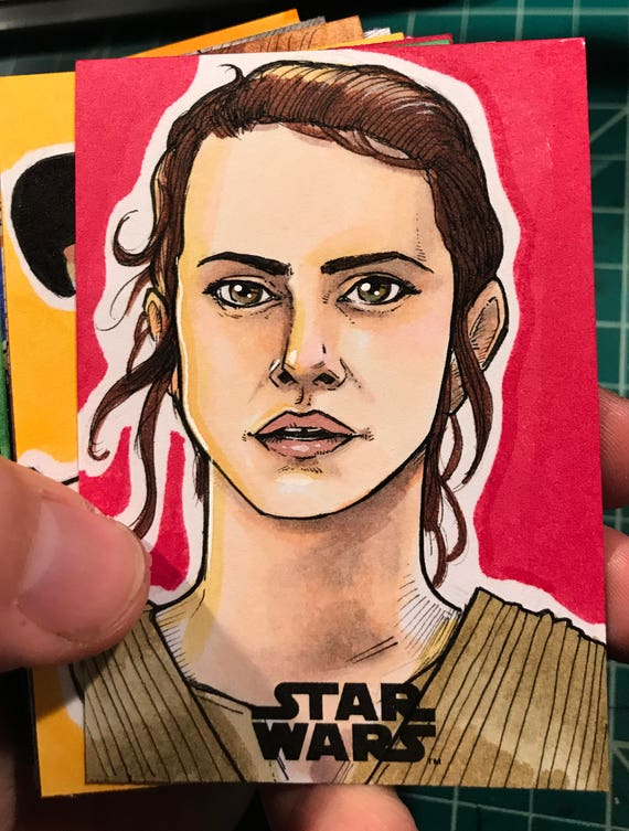 Journey to the Last Jedi Original Artist Sketch Card: Rey