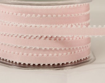 1/4 Inch Grosgrain Ribbon w/ Picot Edge by the yard Baby Pink