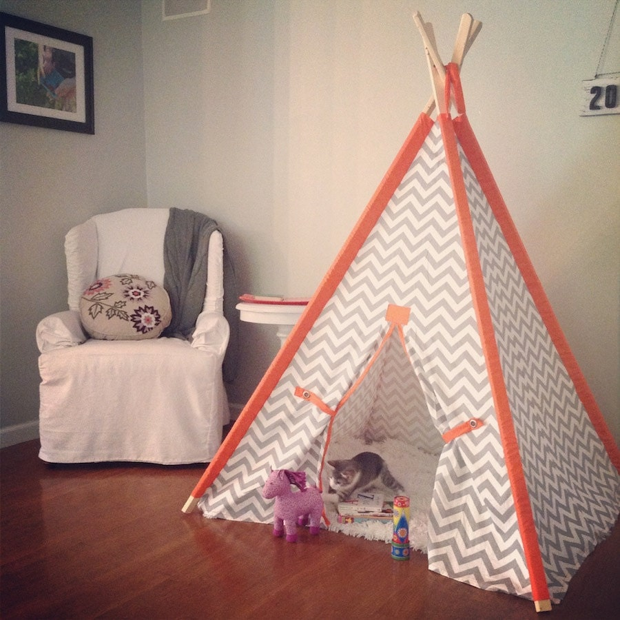 Chevron Kids Teepee with Solid Orange Sleeves Chevron Kids Tent, Kids Play Tent Chose your fabric