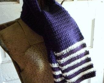Plum Crochet Scarf striped Bottom Purple & white stripes handmade crochet neck warmer wrap fall fashion dark aubergine hand crafted bohochic