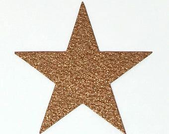 Star Die Cuts Copper Bronze Glitter Cardstock - 4 Inch Size -  Scrapbook Die Cut Party Decoration Invitation Paper Art Craft Embellishment