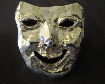 LARGE GOLD MASK Face Brooch 1980s
