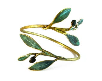Olive Branch Bracelet 'Elia' by Ilios, Olive Leaf Bracelet, Olive Leaf Jewelry, Greek Jewelry, Greek Wedding, Wedding Jewelry, Greek Bronze