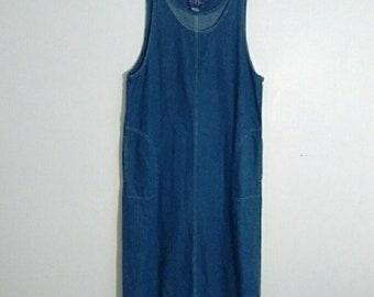Cute Boho Chic 90's Long Blue Jean Denim Sleeveless Jumper Maxi Dress Size 14