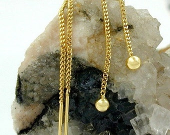 Delicate Durchzieher with small ball 333 Gold