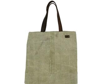 Tote bag, canvas bag, recycled bag, leather straps, tote bag with zipper pocket, shoulder bag