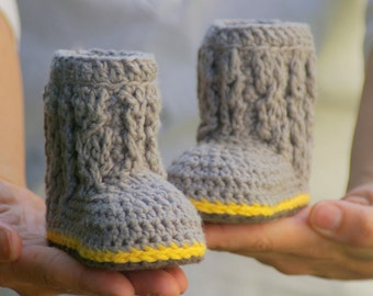 Baby Booties Crochet Pattern for Cable Boots  Pattern number 107 - Instant Download L