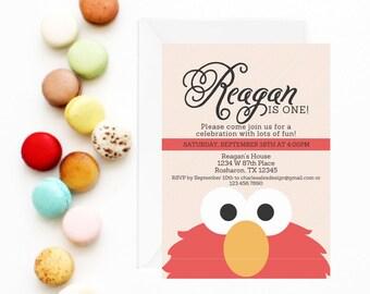 Elmo Invitation   Elmo Invite   Elmo Birthday Party Invitation   Sesame Street Invitation   Sesame Street Birthday Party