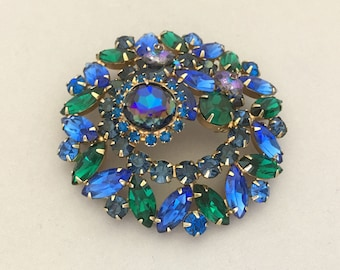 Statement Jewelry Vintage Brooch Blue Rhinestone Brooch Vintage Rhinestone Large Pin Juliana Rhinestone Jewelry Brooch Heliotrope Margarita