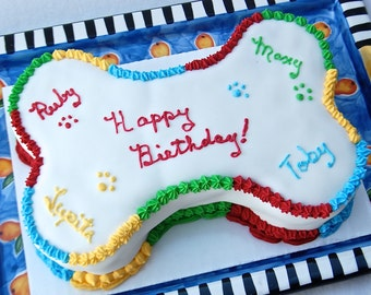 Large Nine Inch Bone Shaped Dog Birthday Cake for Dogs and Puppies Birthday Party