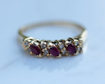 Vintage Ruby and Diamond Wedding Band Set in 14k Solid Yellow gold // Stacking Band // Anniversary Band