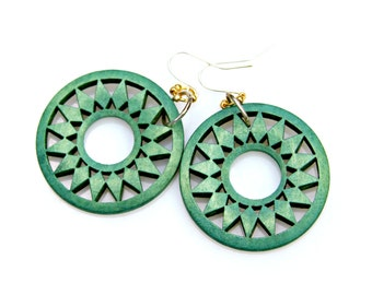 Green Wooden STATEMENT Earrings Hoop Large Circle Disk Dangles Woodland Nature Leaf Design Tribal Goddess Silver Gold Boho Chic by Mei Faith