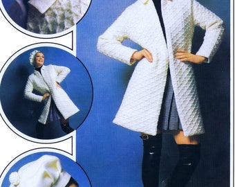 PDF Knitting Pattern Coat Diamond Pattern Beret Hat Knitting PDF Pattern Bust Sizes 34 to 40 Inches Vintage Reproduction Instant Download