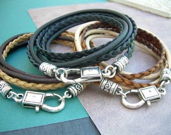 Men's Bracelet, Leather Bracelet, Women's Bracelets, Leather Wrap Bracelet, Womens Braided Leather Bracelet, Black Brown, Tan, Bracelet