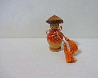 2.3inch Vintage Japanese Miniature Wood KOKESHI Doll