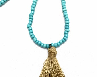 Beaded Tassel Necklace - Boho Jewelry - Teal Necklace - Tassel Necklace - Layering Necklace - Tassel Jewelry - Bohemian Necklace