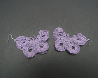Crochet butterfly earrings
