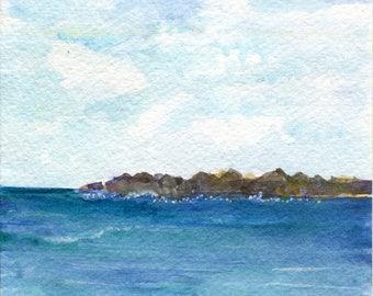 Aruba original watercolor painting, ocean art, seascape, 5 X 7 Caribbean island