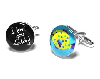 Personalized Childrens Artwork Cufflinks, Fathers Day Gift-  Gift for Dad, Custom Photo Cufflinks, Resin Cufflinks, Fathers Day