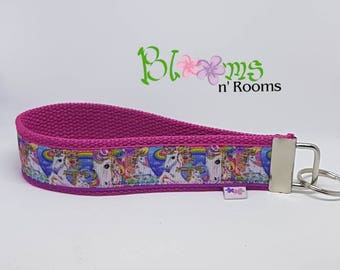 UNICORNS and Rainbows wrist key chain key fob wristlet, you choose the colour you want