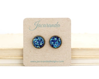 Faux Druzy Earrings - Post Druzy Earrings - Blue Druzy Earrings - Blue Sparkle Earrings - Blue Faux Druzy - Stud Earrings - Faux Gemstone