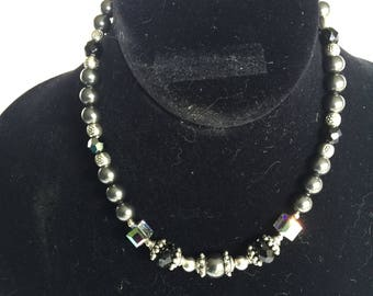 Elegant Dark Gray Pearl and Swarovski Crystal Necklace with Thai & Sterling Silver Accents