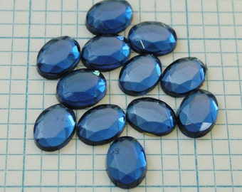 12 8x6mm Faceted Foiled Glass Cabochons - Montana Blue