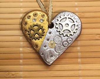Steampunk Valentine Heart Ornament - Industrial Style Mixed Media Decoration Decor style 1