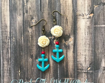 Rockabilly Rose and Ancor Earrings