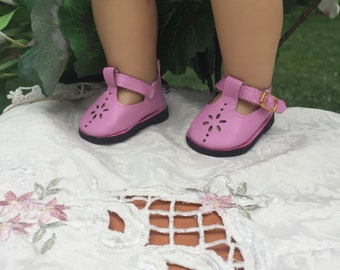 """18 inch doll shoes, accessories for dolls, fits dolls like 18"""" American girl doll accessories, shoes in pink Mary Jane style leather shoes"""