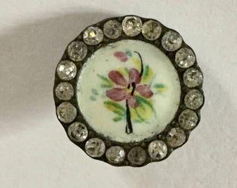 Gorgeous Antique Enamel Jewel Border Small Button Flower Floral Design Old