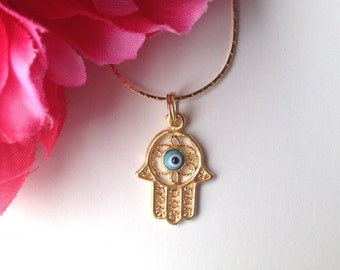 hamsa hand necklace - gold plated hamsa charm necklace - bohemian chic jewelry accessory - hamsa jewelry - evil eye - women's jewelry gift