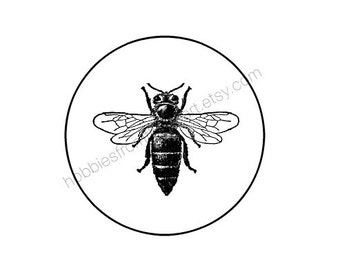 60 Honey Bee Stickers -  kraft or White round labels/seals