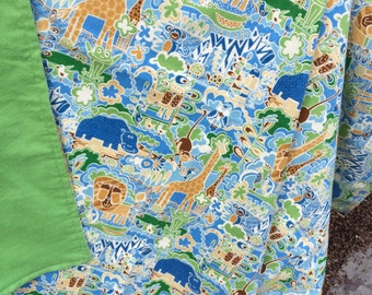 Flannel Baby Blanket / Kid Car Blanket - Jungle Safari Animals on Blue Personalization Available