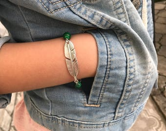 Feather bracelet Antique Silver feather jewelry silver feather unisex bracelet malachite bracelet feather charm jewelry feather