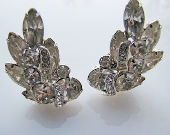Eisenberg Clear Crystal Ear Climber Rhinestone Earrings.  Marquis & Round Cut Glass Stones With Pave Ribbons. Vintage Bridal Jewelry